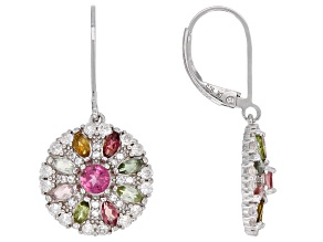 Mixed-color tourmaline rhodium over silver earrings 2.84ctw