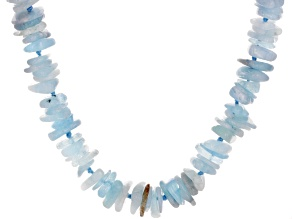 Blue aquamarine chip sterling silver necklace