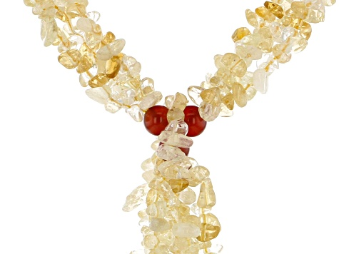 Yellow citrine chip sterling silver necklace