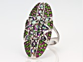 Green Mystic Fire® topaz rhodium over silver ring 4.16ctw