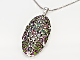 Green Mystic Fire® topaz rhodium over sterling silver pendant with chain 4.16ctw