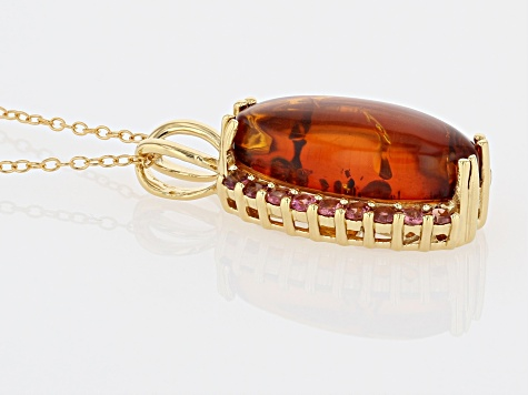 Orange amber 18k gold over sterling silver pendant with chain .61ctw