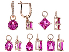 Pink lab created sapphire 18k gold over silver earrings set 16.19ctw