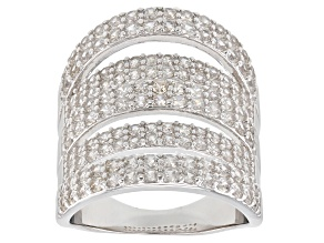 White zircon rhodium over silver ring 3.67ctw