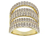 White zircon 18k yellow gold over silver ring 3.67ctw