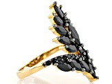 Black spinel 18k yellow gold over sterling silver ring 3.18ctw