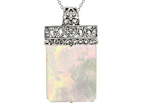 White mother of pearl rhodium over sterling silver pendant enhancer with necklace