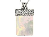 White mother of pearl oxidized sterling silver pendant enhancer with necklace