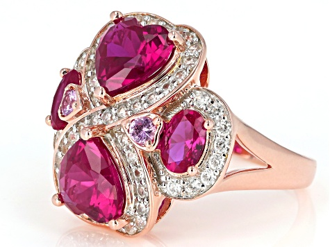 Red Lab Created Ruby 18k Rose Gold Over Silver Ring 5.84ctw