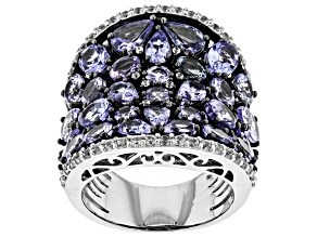 Blue tanzanite rhodium over sterling silver band ring 7.68ctw