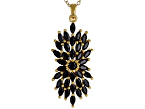 Black spinel 18k gold over silver pendant with chain 2.13ctw