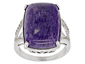 Purple charoite rhodium over silver ring .23ctw