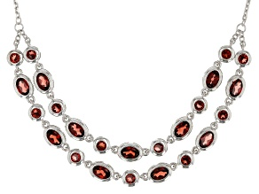 Red garnet rhodium over silver necklace 8.41ctw