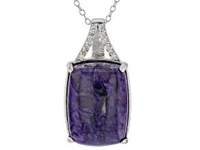 Purple charoite rhodium over silver pendant with chain .17ctw