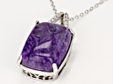 Purple charoite rhodium over silver pendant with chain .17ctw