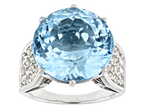 Sky blue topaz rhodium over sterling silver ring 17.21ctw