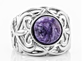 Purple charoite rhodium over silver ring