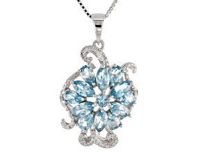 Blue zircon rhodium over sterling silver pendant with chain 3.23ctw