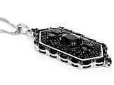 Black Spinel Rhodium Over Silver Pendant With Chain 5.33ctw