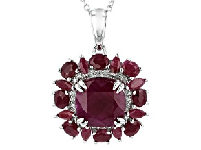 Red Ruby Rhodium Over Silver Pendant With Chain 9.25ctw