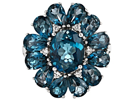 London blue topaz rhodium over silver ring 7.99ctw