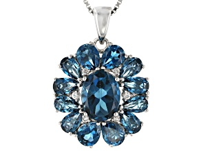 Blue topaz rhodium over silver pendant with chain 4.78ctw