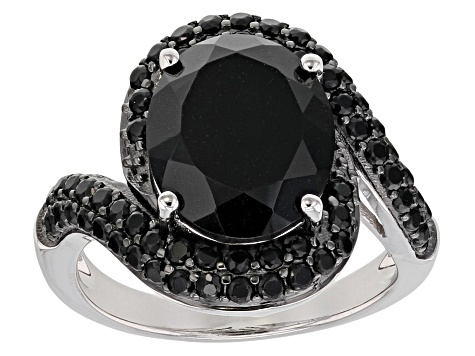 Black spinel rhodium over sterling silver ring 6.23ctw