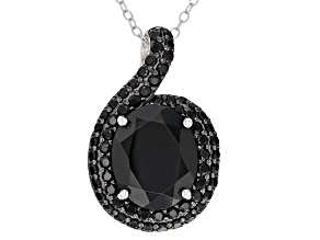 Black spinel rhodium over silver pendant with chain 6.16ctw