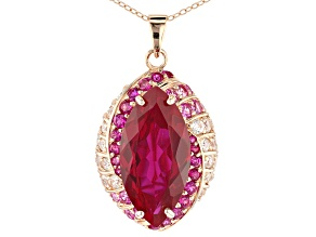 Red Lab Created Ruby 18k Rose Gold Over Sterling Silver Pendant with Chain 16.92ctw