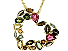 Multi-Tourmaline 18k Gold Over Silver Pendant/Slide With Chain 5.26ctw