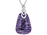 Purple charoite rhodium over silver enhancer with chain