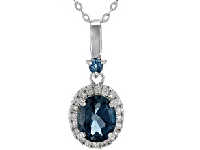London blue topaz rhodium over silver pendant with adjustable chain 3.17ctw