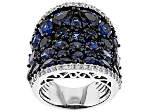 Lab created blue sapphire rhodium over sterling silver ring 9.02ctw