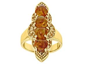 Orange Amber 18k Gold Over Silver Ring .24ctw