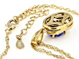 Blue tanzanite 18k gold over silver pendant with chain 1.31ctw