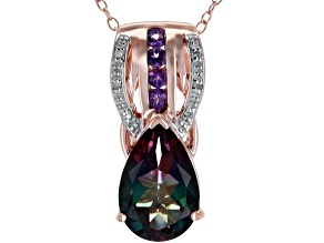 Multicolor Watermelon Quartz 18k Rose Gold Over Silver Pendant With Chain 2.49ctw