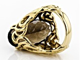 Brown smoky quartz 18k yellow gold over sterling silver solitaire ring 14.97ct