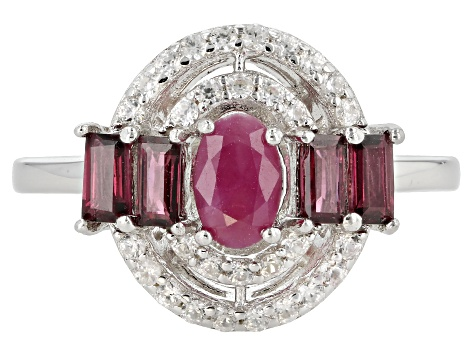 Red ruby rhodium over silver ring 1.26ctw