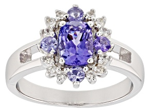 Blue tanzanite rhodium over silver ring 1.12ctw