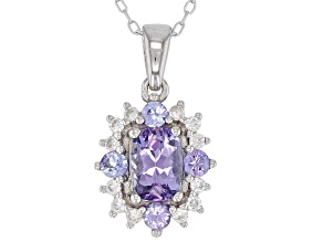 Blue tanzanite rhodium over silver pendant with chain 1.15ctw
