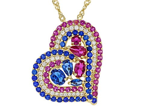 Blue lab created spinel 18k gold over silver pendant with chain 2.58ctw