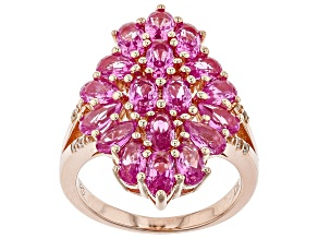 Pink lab created sapphire 18k rose gold over silver ring 4.31ctw