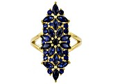 Blue lab created sapphire 18k gold over silver ring 3.09ctw