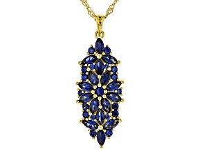 Blue lab created sapphire 18k gold over silver pendant with chain 3.34ctw