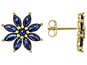 Blue lab created sapphire 18k gold over silver earrings 2.47ctw