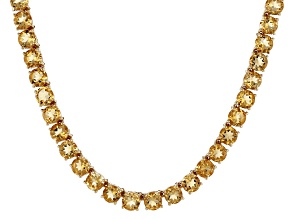 Yellow citrine 18k gold over silver tennis necklace 33.40ctw