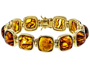 Orange Amber 18k Yellow Gold Over Sterling Silver Bracelet