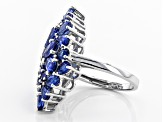 Blue Kyanite Rhodium Over Sterling Silver Rign 6.77ctw
