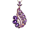 Purple amethyst 18k rose gold over sterling silver pendant with chain 5.34ctw