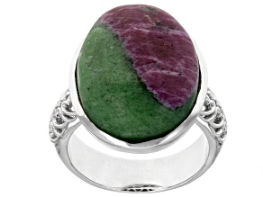Bi-color ruby-in-zoisite rhodium over sterling silver solitaire ring